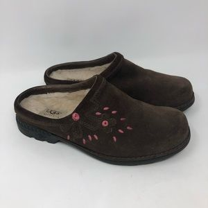 UGG Brown Suede Floral Embroidered Clogs 6